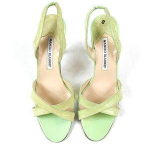 Manolo Blahnik Callasi Slingback Sandals Heels 38